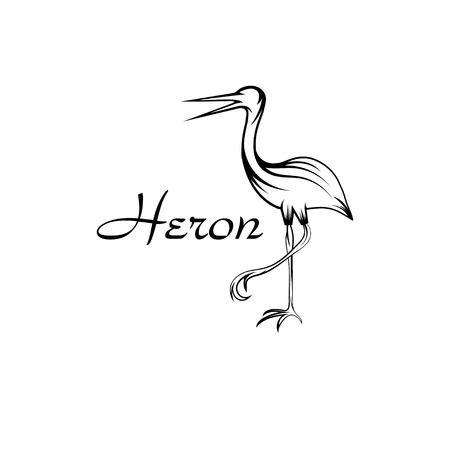 egret: Heron bird in outline style