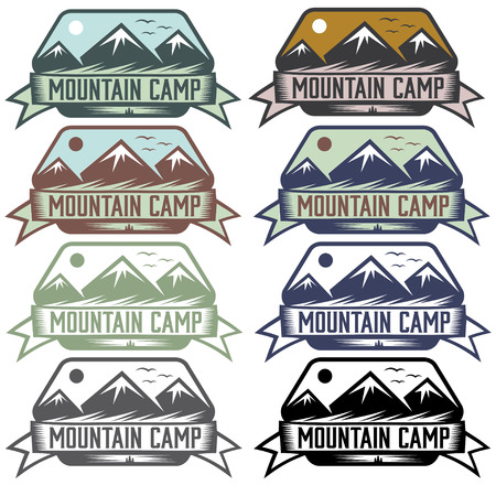 mountain camp vintage labels set Vector