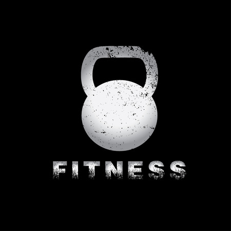 grunge kettlebell on black background vector design template