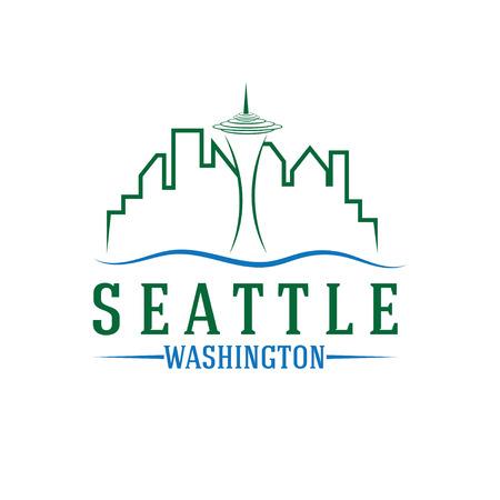 seattle: seattle skyline vector design template