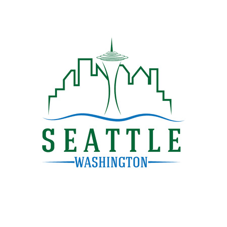 seattle skyline vector design template