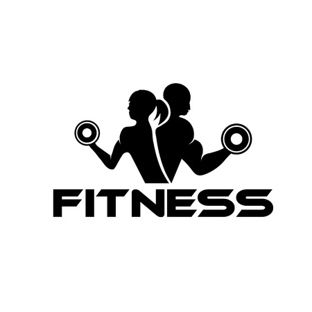 silhouette of female characters: man and woman of fitness silhouette character