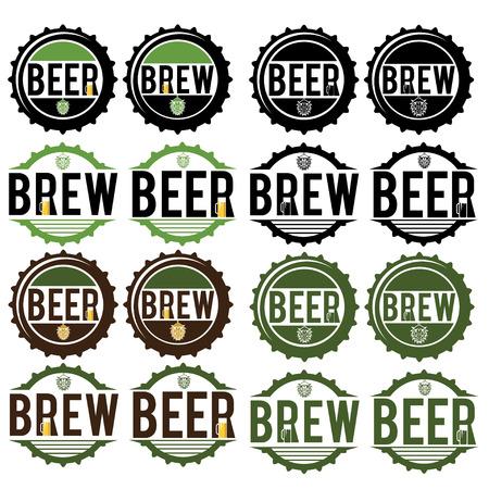 caps: set of vintage beer labels