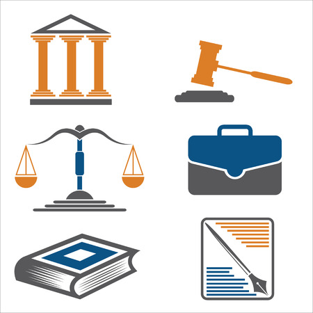 proceeding: Justice and law. Vector icons.