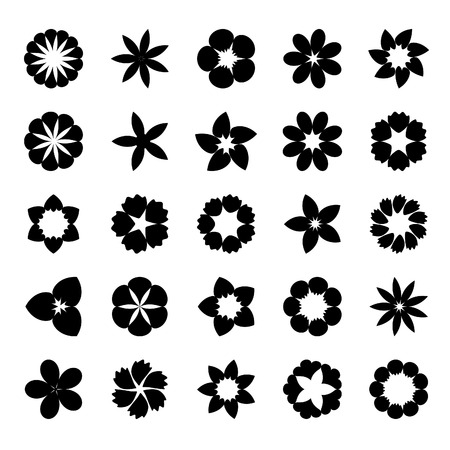 Set of flat icon flower.Vector Çizim
