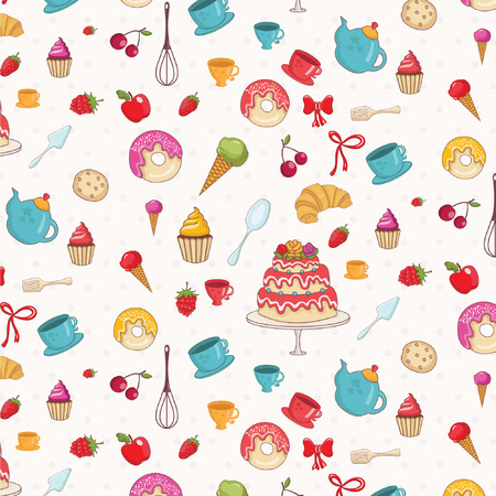 Seamless pattern of croissant,donuts,cakes,apples and other bakery signs.Vector. Vector