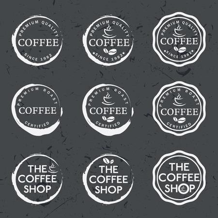 Set of vintage retro coffee labels on chalkboard Vector