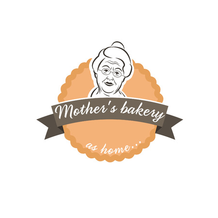 gourmet cooks: Illustration label cake with grandmother.Vector
