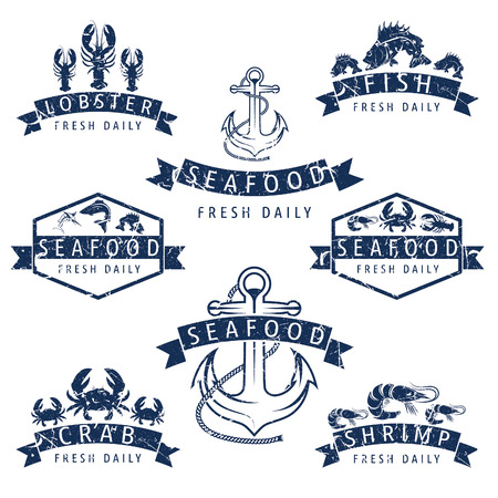 Illustration set of seafood Labels in retro style.Vector Vector