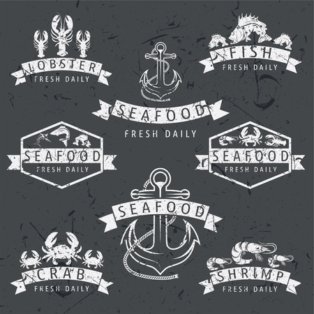 Illustration set of seafood Labels in retro style on chalkboard .Vector Vector