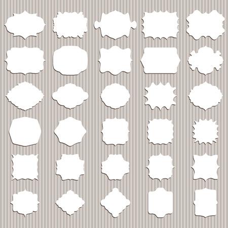 Illustration set of vintage blank frame and label. Vector Vector