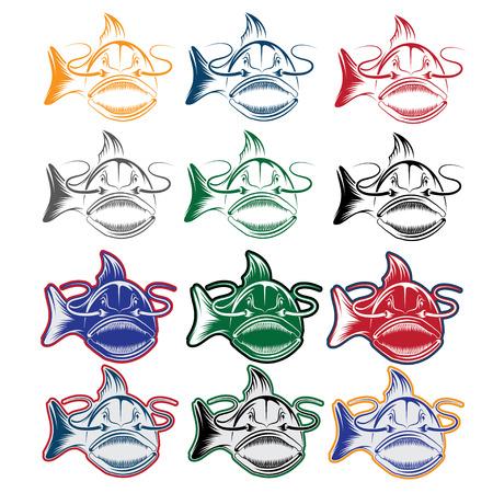 predatory: set of cartoon catfish mascot Illustration
