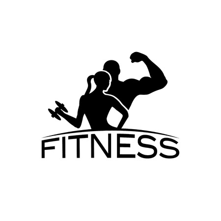 strong: man and woman of fitness silhouette character vector design template