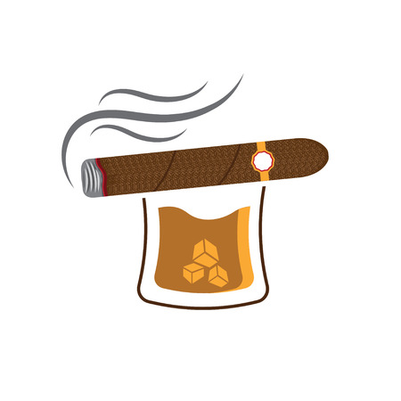 bourbon whisky: Whiskey with ice cubes and cigar Illustration