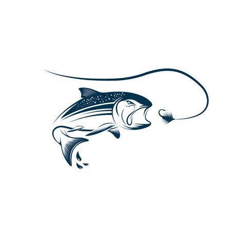 coho: jumping salmon and lure Illustration