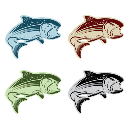set of jumping salmon Vector