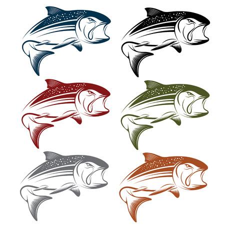 coho: set of jumping salmon Illustration