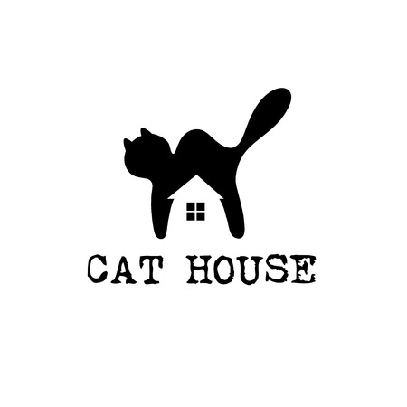 cat house concept vector design template