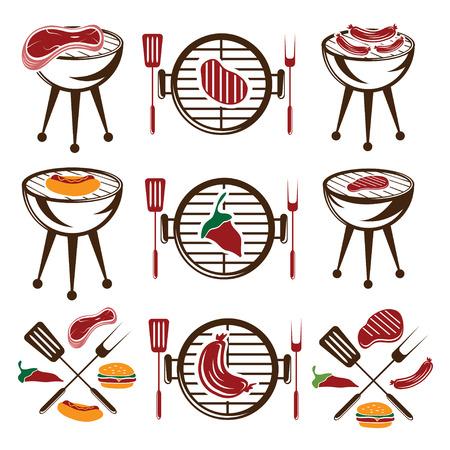 bbq ribs: bbq set of meat,hot dog and burger