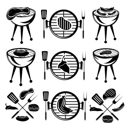 bbq set of meat,hot dog and burger Vector