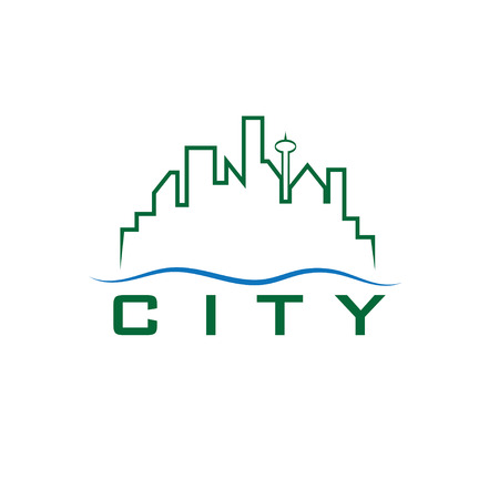 pacific northwest: city skyline vector design template