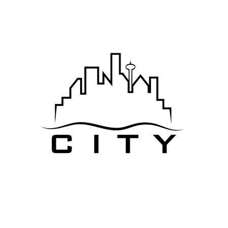 pacific northwest: city skyline vector design template
