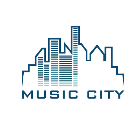 telecoms: music city concept vector design template