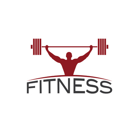 crossbar: Bodybuilder Fitness Model with barbell silhouette vector design template