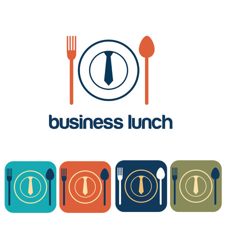 hungry: business lunch and icon set flat design Illustration