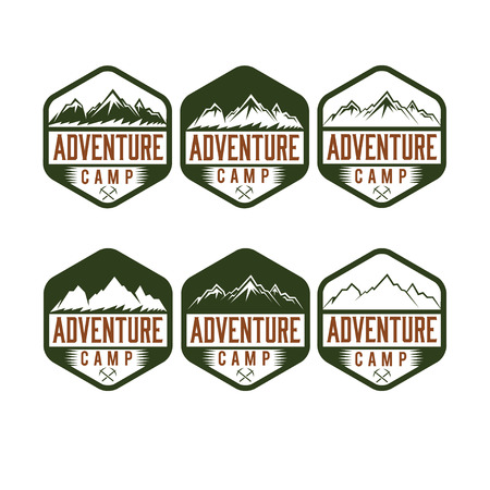 ice axe: set of vintage labels adventure camp Illustration