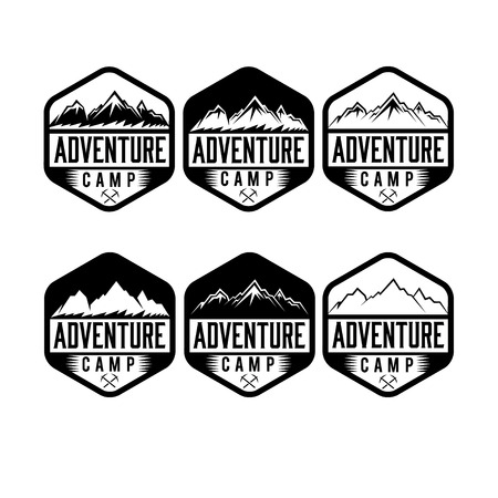 capped: set of vintage labels adventure camp Illustration