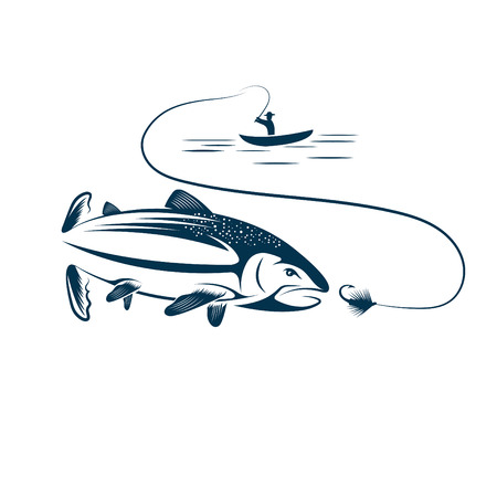 fishing boat: fisherman in boat and salmon Illustration