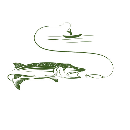 fisherman in boat and pike Vector