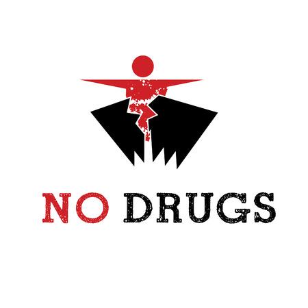 передозировка: Аннотация значок человек освобождается от наркотиков. Иллюстрация