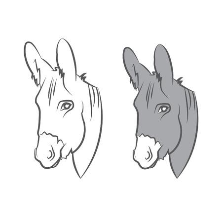 Illustration cute draw donkey.  Vector