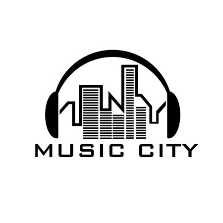 internet radio: music city concept vector design template