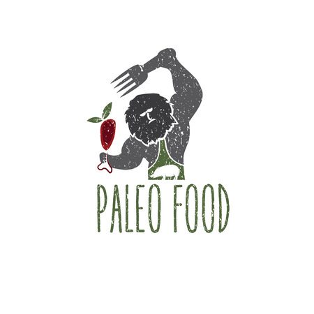 paleo food caveman vector design template