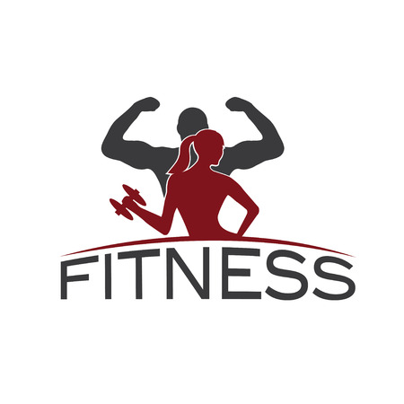man and woman of fitness silhouette character vector design template