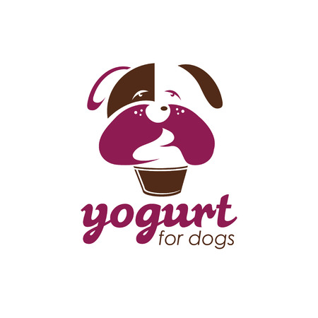 empty the bowl: yogurt for dogs concept vector design template Illustration