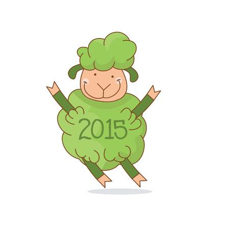 Illustration of funny green sheep, symbol 2015 year. Vector Vector
