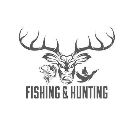 hunting: vintage hunting and fishing vector design template