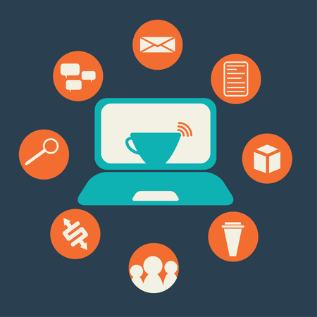 remittance: internet cafe flat design with icon set Illustration