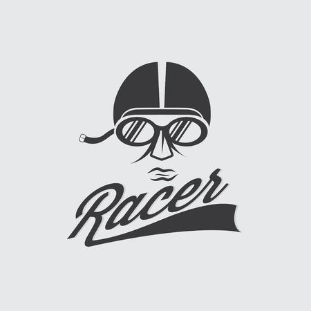 racer head vintage illustration Vector