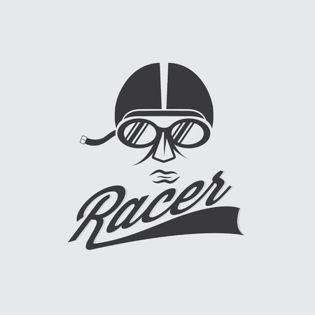 racer head vintage illustration Vector