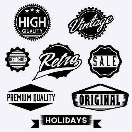 Vector Black and White Retro Stamps and Badges Vector