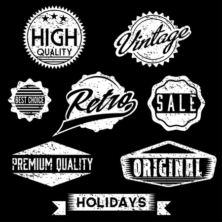 Vector Black and White Grunge Retro Stamps and Badges Vector