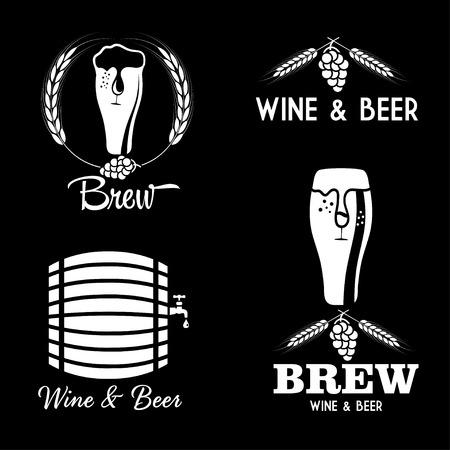 wine and beer vintage labels set Vector