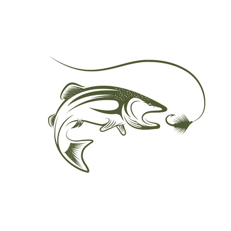 trout and lure vector design template
