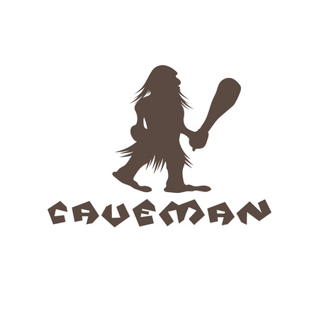 cro magnon: caveman with a cudgel in his hands Illustration