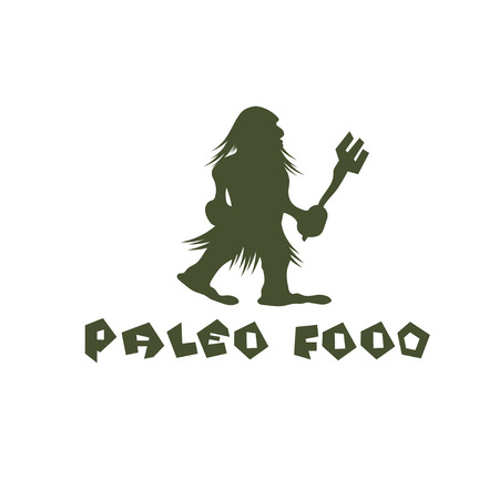 paleo food caveman vector design template Vector